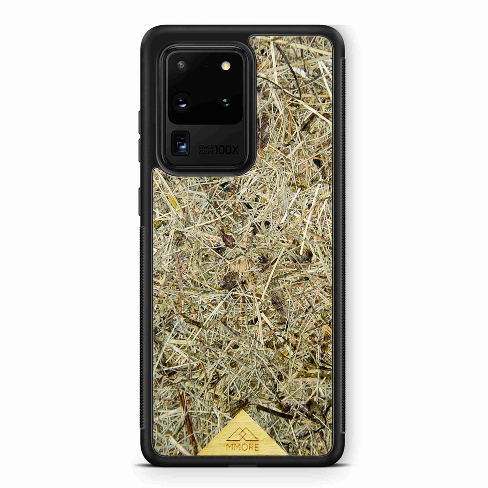 Scented Aromatic Eco-Friendly Sustainable Recyclable Handmade Organic phone case for Samsung Galaxy S20 ULTRA in Black Colour made of real hand-picked dried and pressed natural Alpine Hay