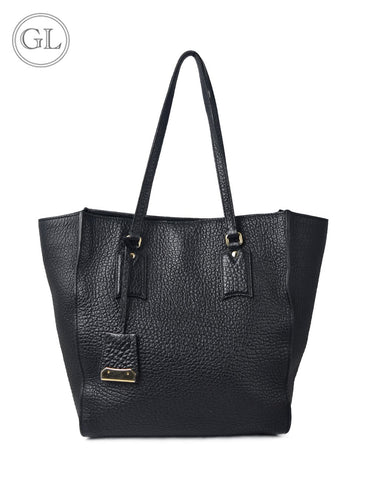 Burberry grained leather black tote