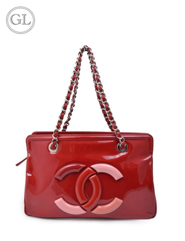 Chanel pink and red liptick patent leather bag