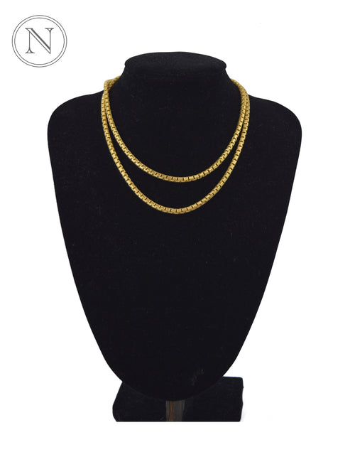 18 K Gold Plated Block Chain Necklace