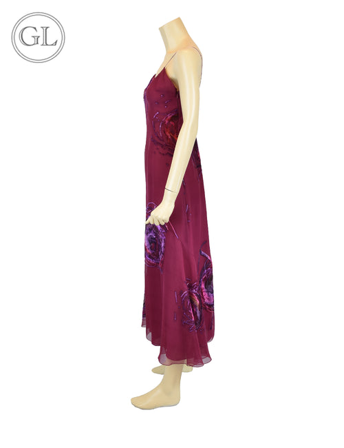 Christian Dior Silk Dress with Printed Floral Velvet - US 4