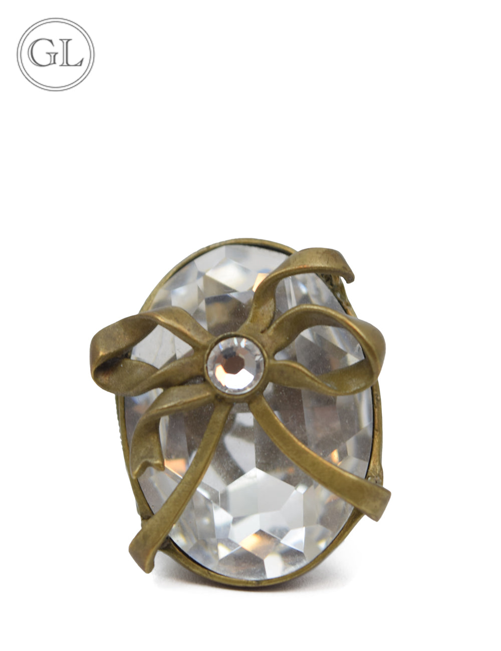 Christian Dior Crystal Brass Ring - 6