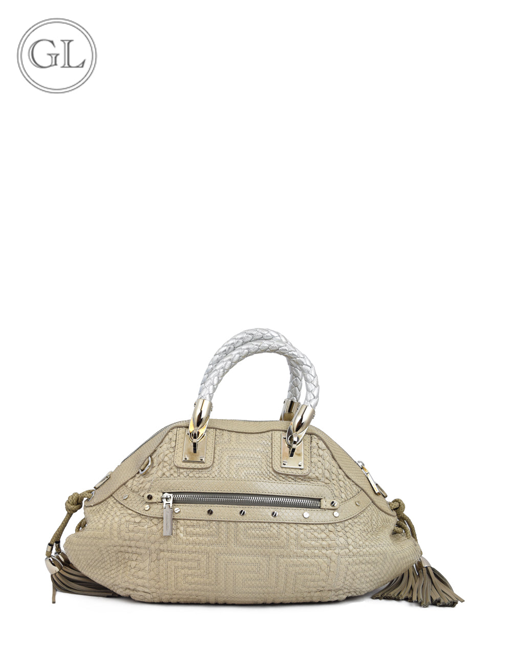 Gianni Versace Beige Python Leather Bag