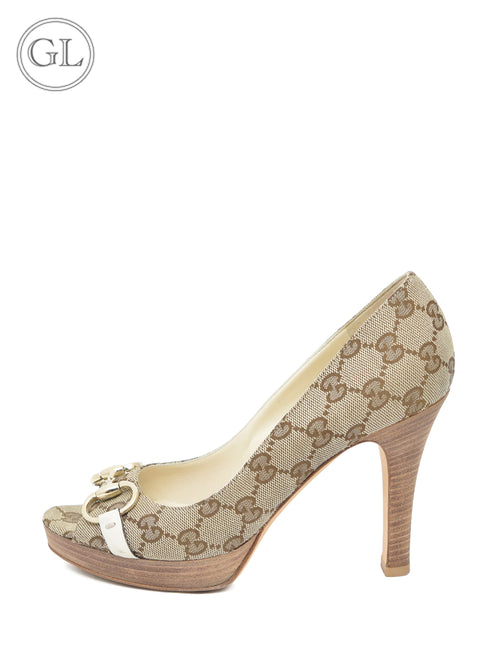 Gucci Monogram Open Toe Pumps - EU 37