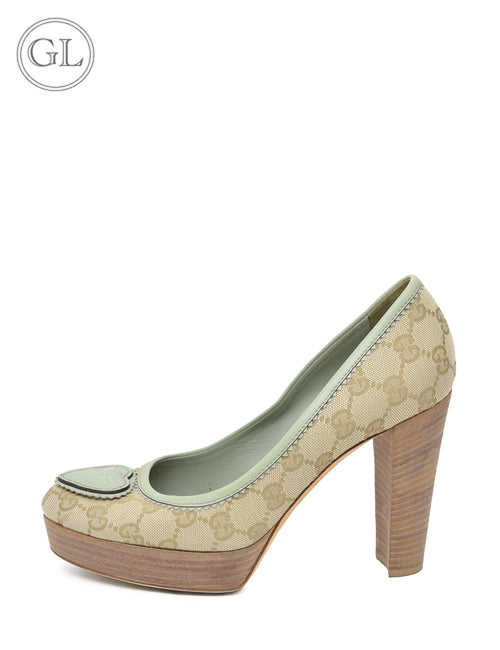 Gucci Monogram Round Toe Pumps - EU 37