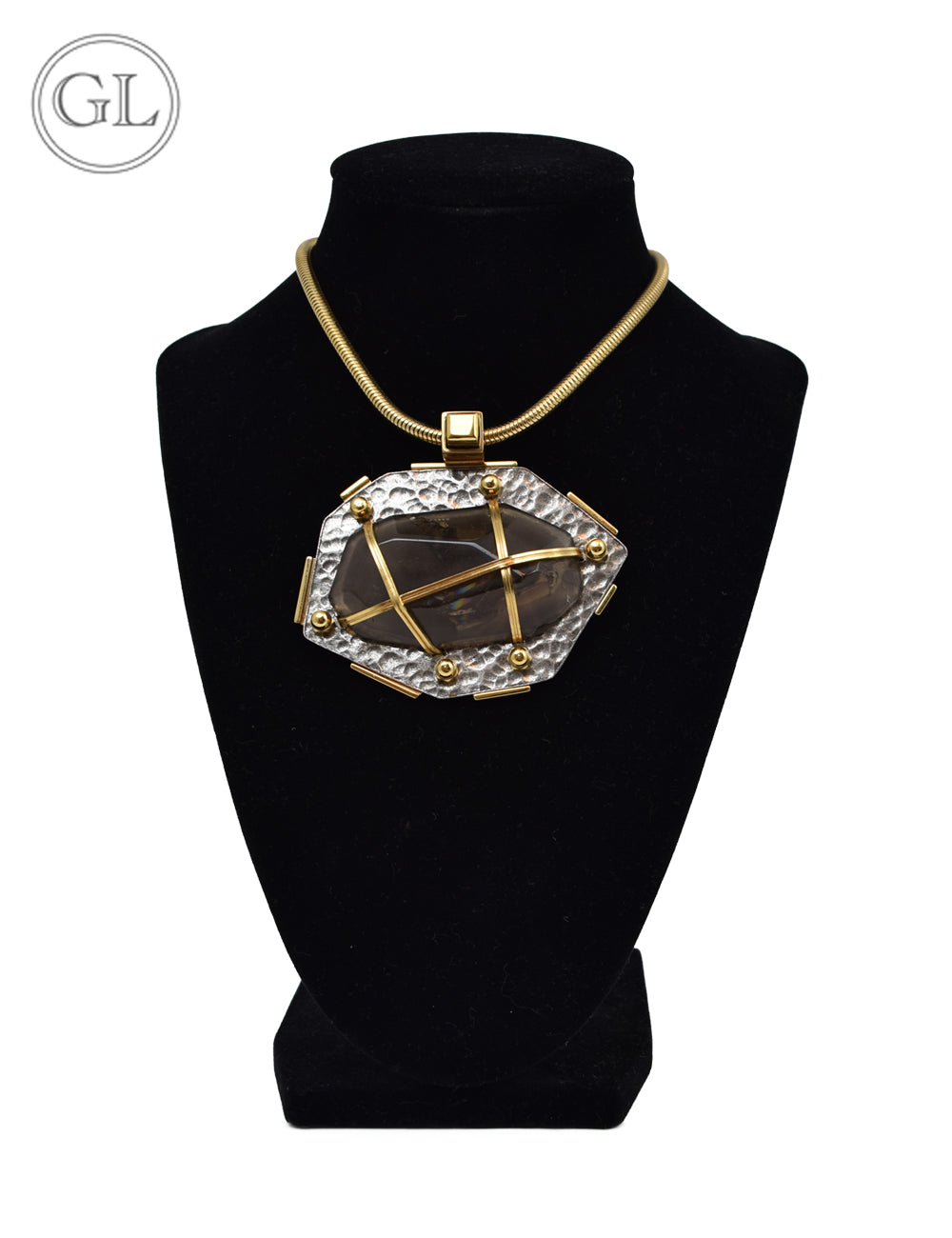 Lanvin Bronze Stone Necklace