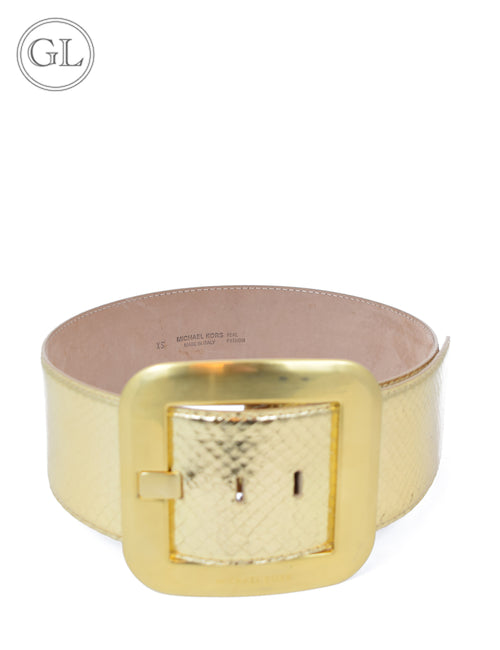 Michael Kors Gold Leather Waist Belt