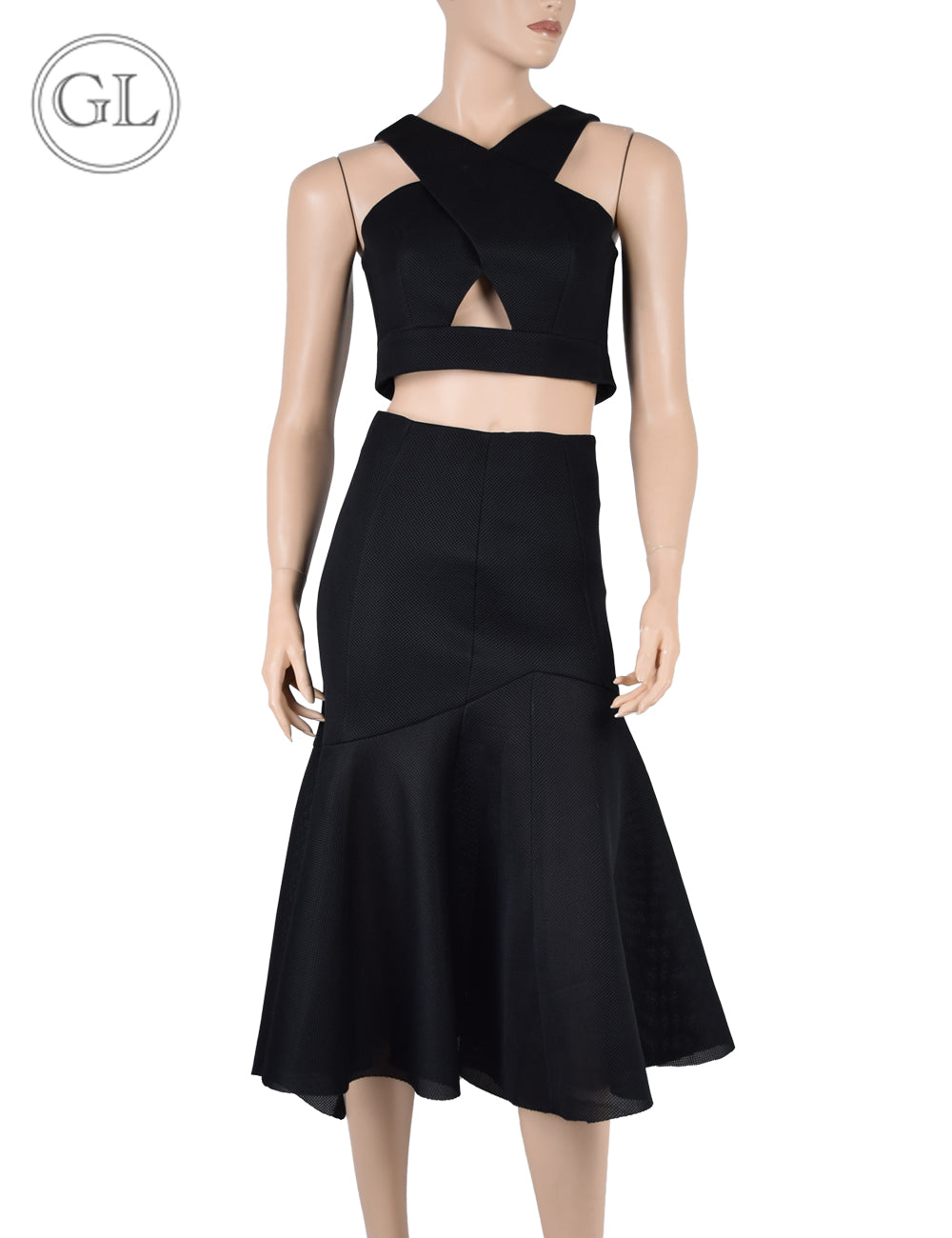 Nicholas Black Cropped Top Skirt Set - US 4