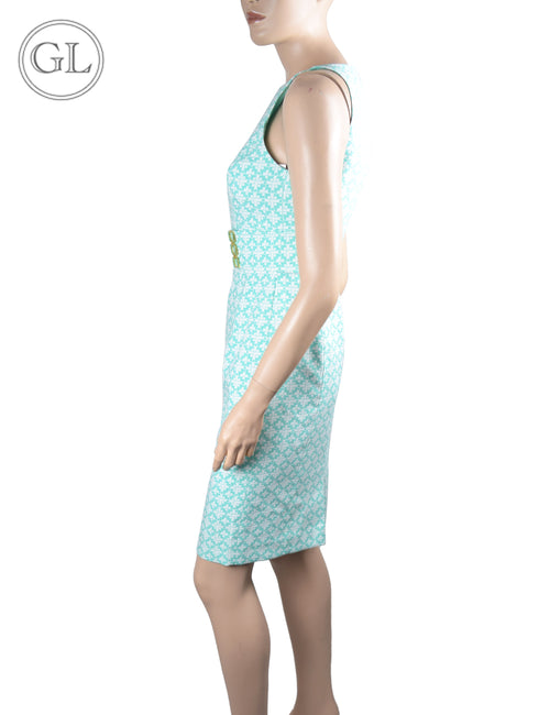 Tahari White and Turquoise Sleeveless Dress - US 2
