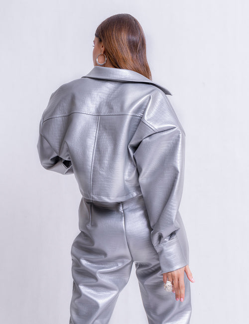 1983- Silver Faux Leather Jacket