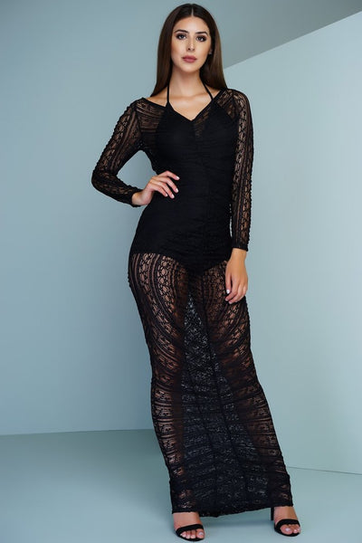 Avery Crochet Maxi Dress - Black