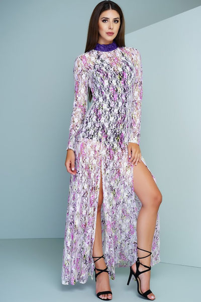 Priscilla Sheer Lace Dress - Floral