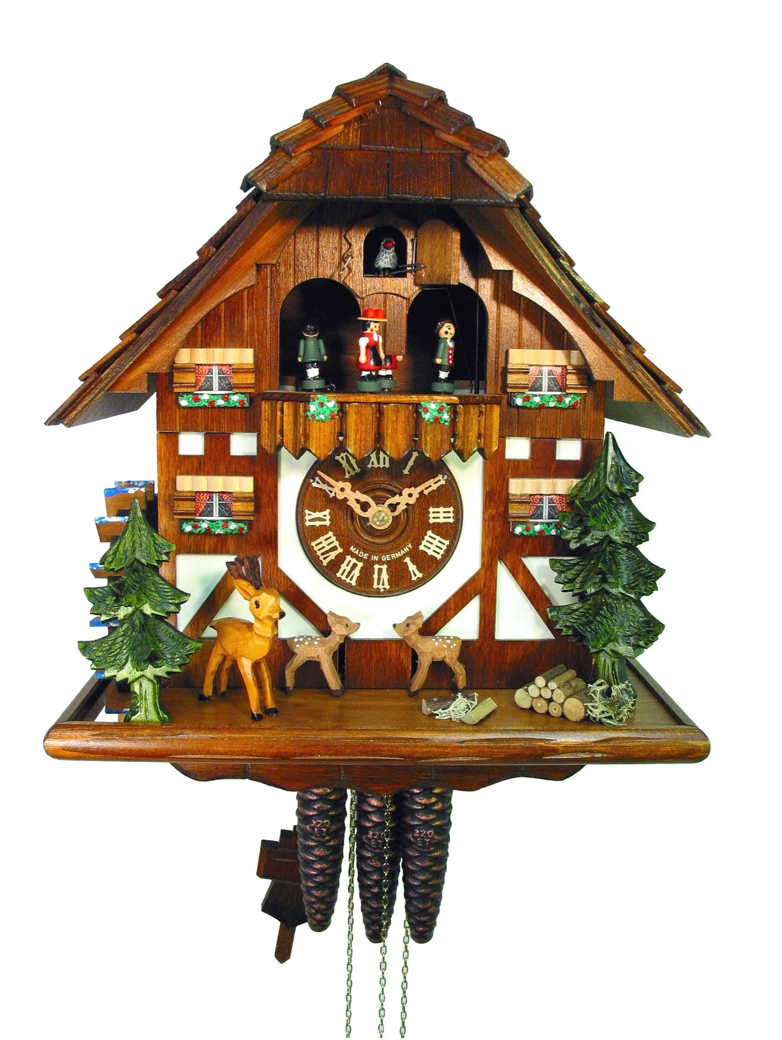 chalet 1 day jumping deer cuckoo clock with music 33cm by august
