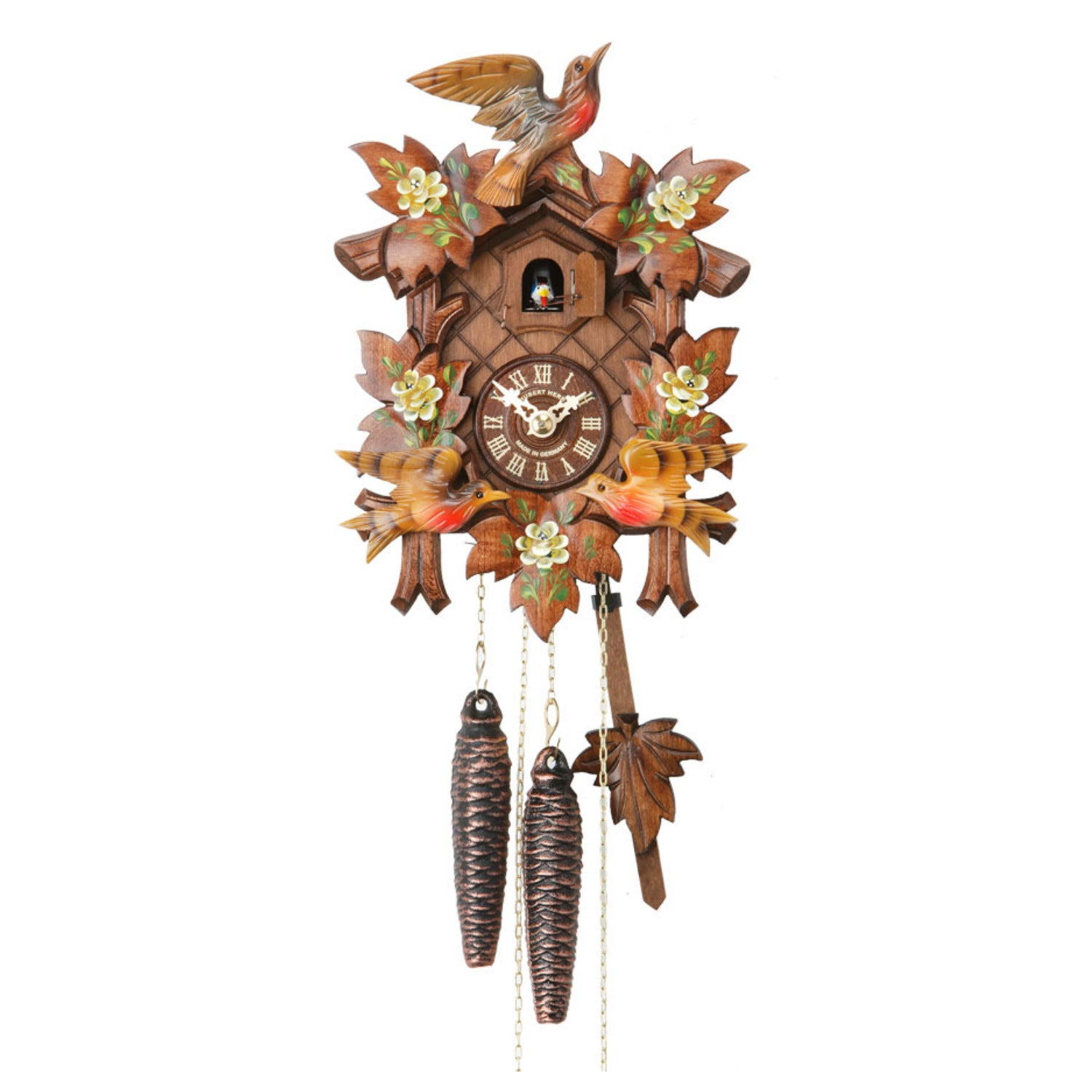 Carved 1 Day Cuckoo Clock With Two Colourful Birds And Leaves 25cm By Cuckoo Collections