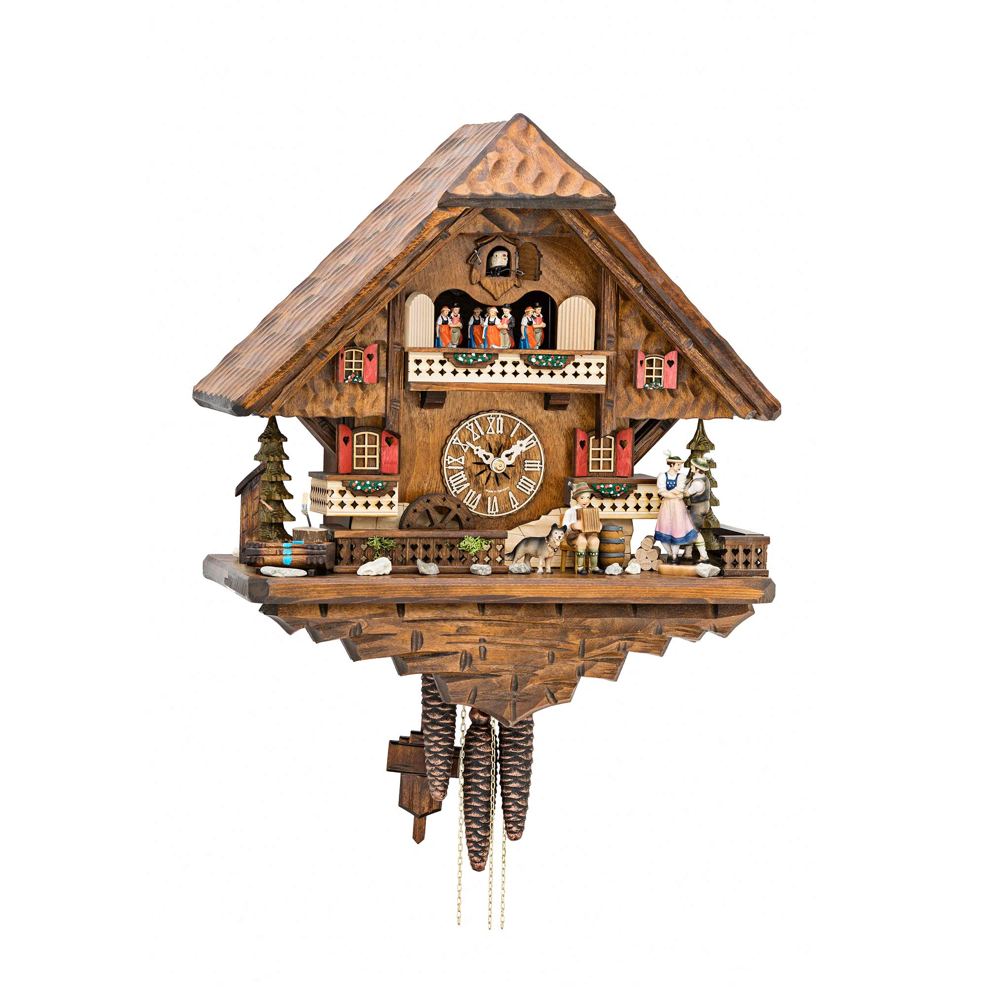 Chalet 1-day musical cuckoo clock Black Forest lovers, accordion player,  dog, mill-wheel, and dancers 42cm by Hekas