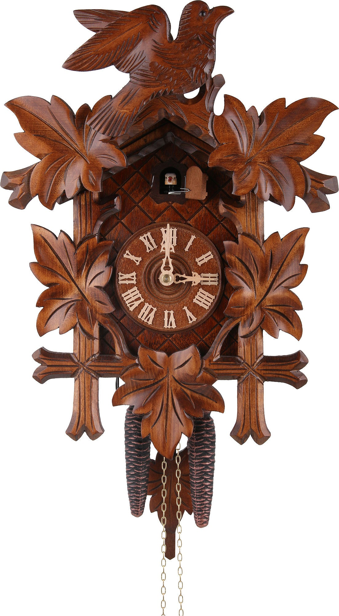 Cuckoo Clock - Carved style 1 day movement cuckoo clock 5 leaves bird 40cm by Rombach & Haas - Cuckoo Collections