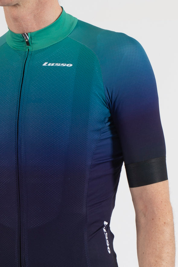 Fade Navy/Green Short Sleeve Jersey - Lusso Cycle Wear