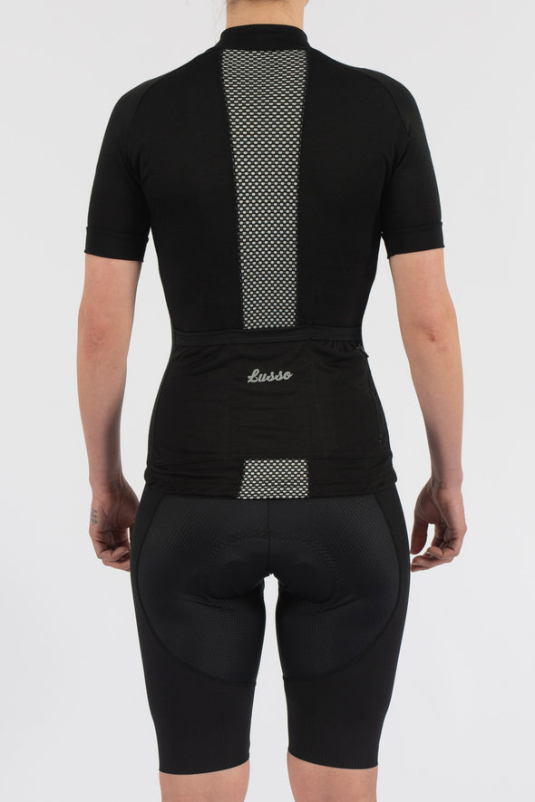 Merino Black Short Sleeve Jersey - Womens - Lusso Cycle Wear