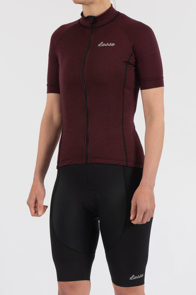Merino Plum Short Sleeve Jersey - Womens - Lusso Cycle Wear