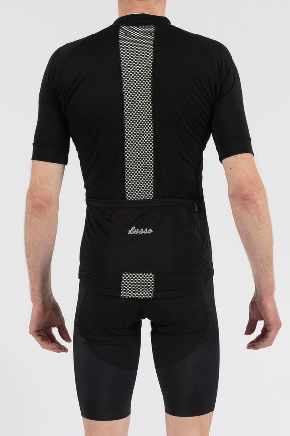 Merino Black Short Sleeve Jersey - Lusso Cycle Wear
