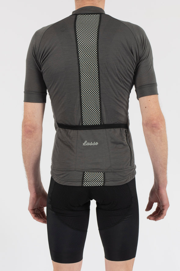 Merino Grey Short Sleeve Jersey - Lusso Cycle Wear
