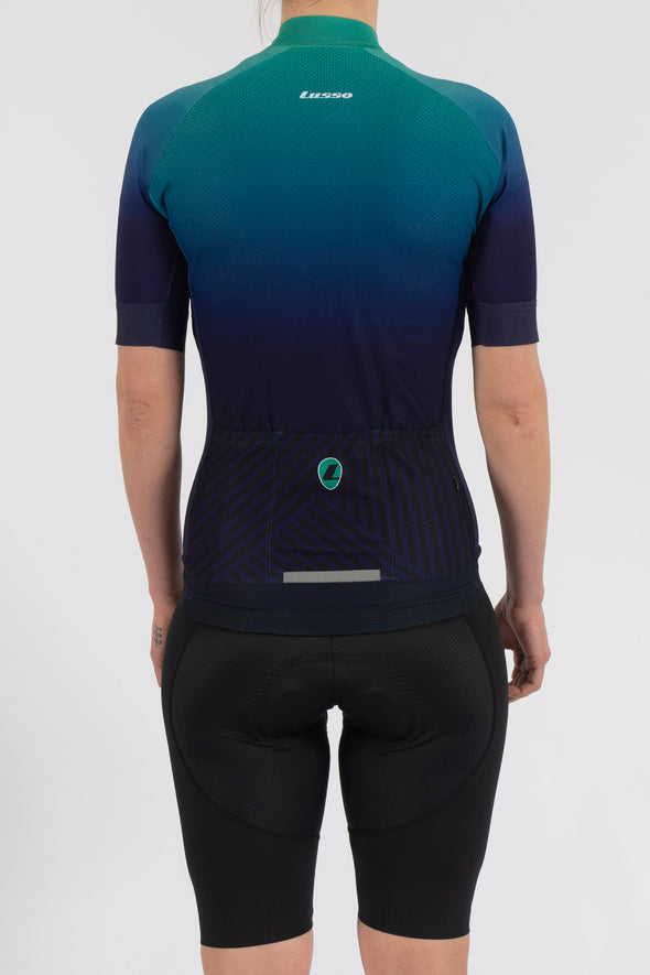 Fade Navy/Green Short Sleeve Jersey - Womens - Lusso Cycle Wear