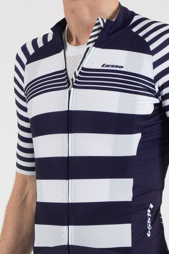 Stripes Blue/White Short Sleeve Jersey - Lusso Cycle Wear