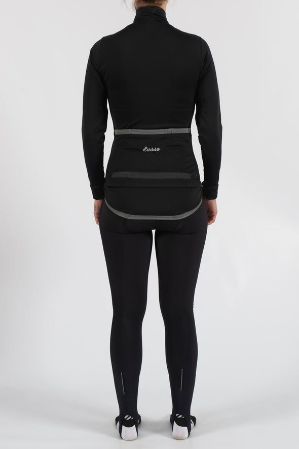 Aqua Repel Black Jacket - Womens - Lusso Cycle Wear