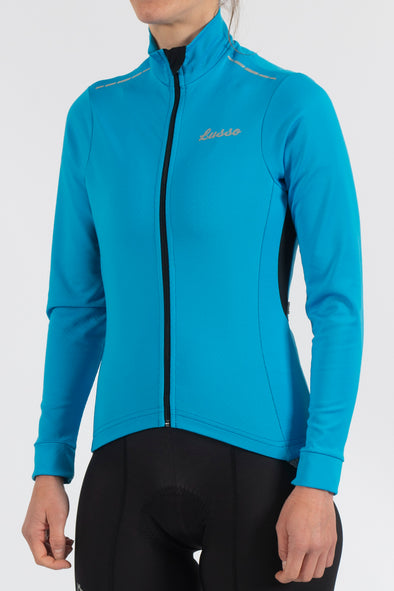 Aqua Repel Blue Jacket - Womens - Lusso Cycle Wear