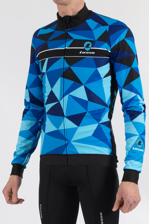 Shattered Blue Long Sleeve Jersey - Lusso Cycle Wear