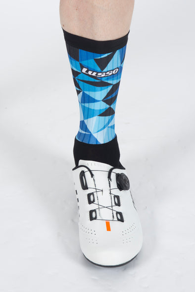 Shattered Blue Active Aero Socks - Lusso Cycle Wear