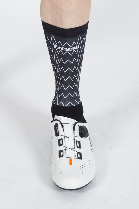 Zig Zag Black Active Aero Socks - Lusso Cycle Wear