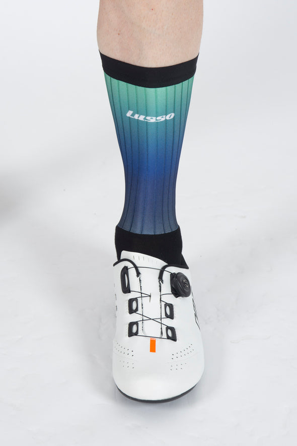 Fade Green/Navy Active Aero Socks - Lusso Cycle Wear