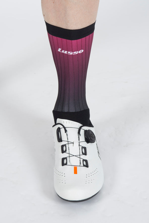 Fade Plum/Black Active Aero Socks - Lusso Cycle Wear