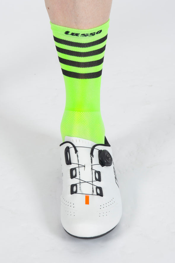 SoftAir Socks Stripes Lime - Lusso Cycle Wear