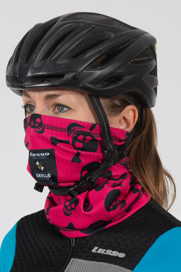 Pink Skulls Carbon Thermal Buff - Lusso Cycle Wear