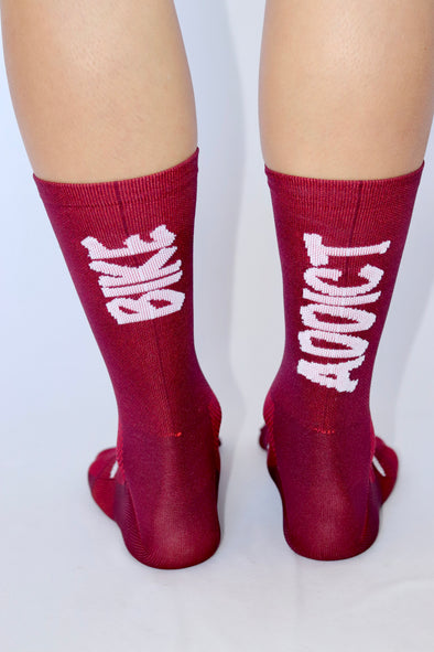 Bike Addict Summer Socks- Plum/white - Lusso Cycle Wear