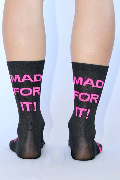 MAD FOR IT! Summer Socks- Black/ Flo Pink - Lusso Cycle Wear