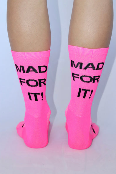 MAD FOR IT! Summer Socks- Flo Pink/Black - Lusso Cycle Wear