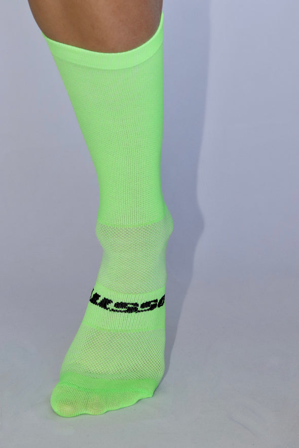 ON IT! Summer Socks- Flo green/black - Lusso Cycle Wear