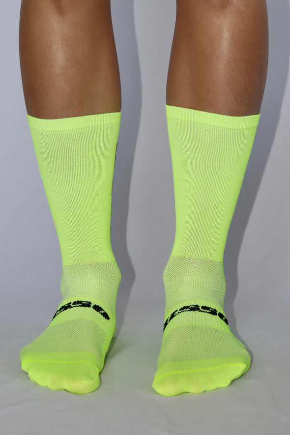 I'm not a climber Summer Socks- Flo yellow/Black - Lusso Cycle Wear