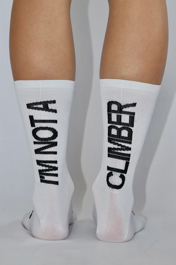 I'm not a climber Summer Socks- White/Black - Lusso Cycle Wear