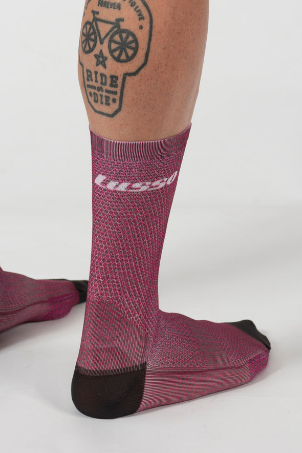 Momentum Soft Feel printed sock - Plum - Lusso Cycle Wear