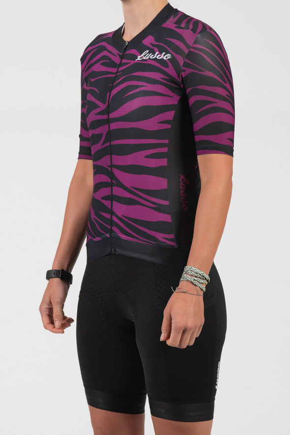 Purple Zebra Short Sleeve Jersey - Womens - Lusso Cycle Wear