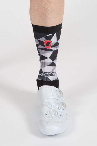 Grey Shattered Active Aero Socks - Lusso Cycle Wear