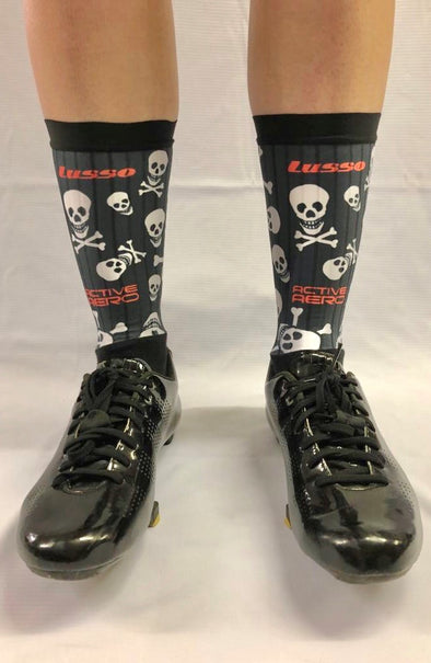 Black/White Skulls Active Aero Socks - Lusso Cycle Wear