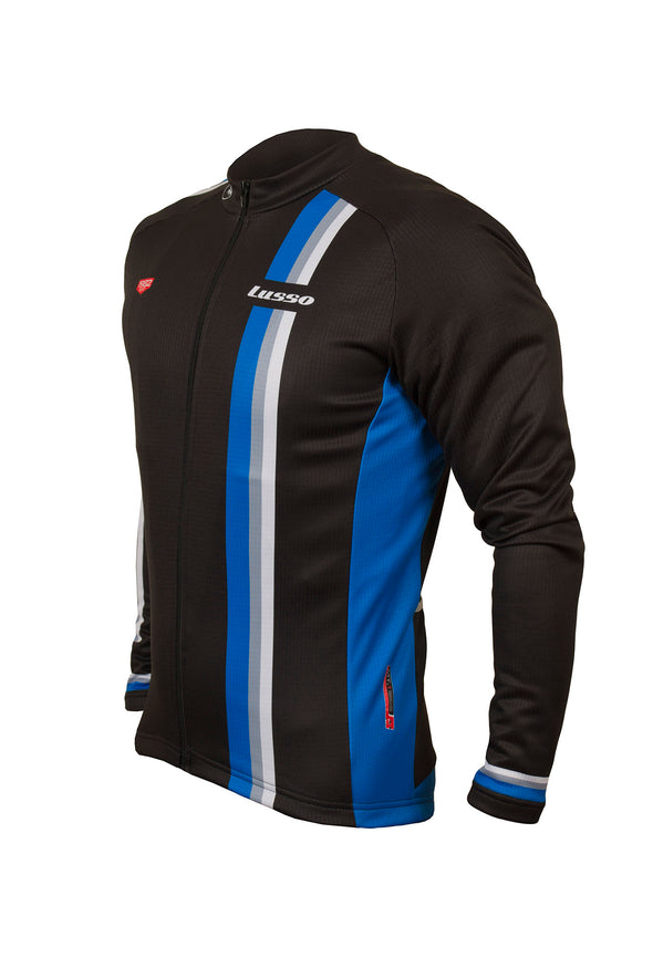 Trofeo L/S Jersey Black/Blue - Lusso Cycle Wear