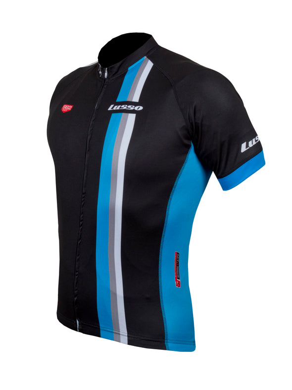 Trofeo S/S Jersey Black/Blue - Lusso Cycle Wear