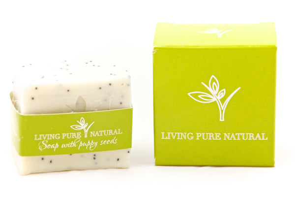 Living Pure Natural Body Soap with Poppy Seeds - Living Pure Natural
