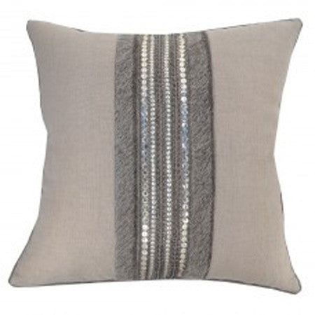 Decorative Hide & Bead Stripe Pillow  20x20
